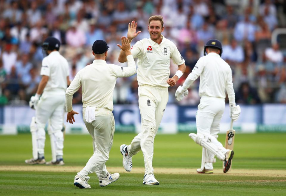 LONDON, ENGLAND - JULY 26:  Stuart Broad of England celebrates taking the wicket of Andy McBrine of Ireland during day three of the Specsavers Test Match between England and Ireland at Lord's Cricket Ground on July 26, 2019 in London, England. (Photo by Julian Finney/Getty Images)