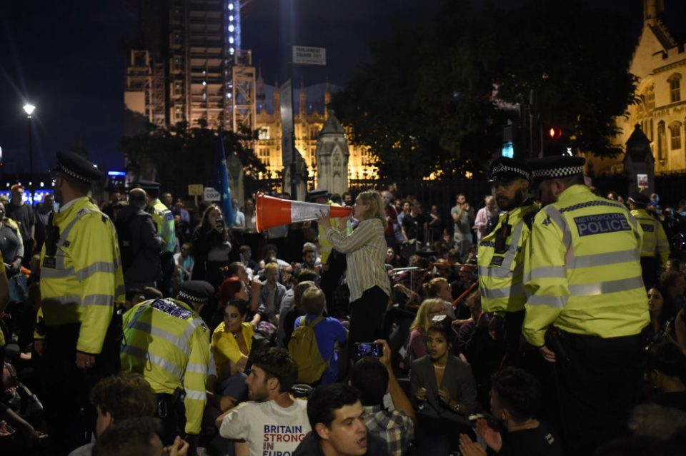 Protesters gather outside parliament late into the night after Prime Minister Boris Johnson succeeded in a bid to suspend the Commons