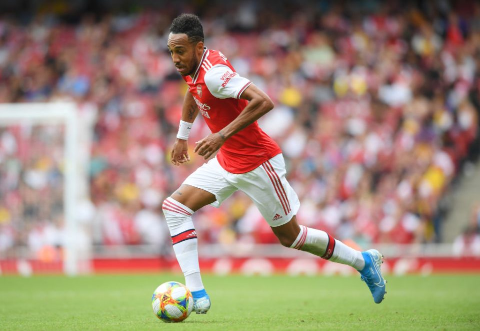 LONDON, ENGLAND - JULY 28: Pierre-Emerick Aubameyang of Arsenal in action during the Emirates Cup match between Arsenal and Olympique Lyonnais at the Emirates Stadium on July 28, 2019 in London, England. (Photo by Michael Regan/Getty Images)