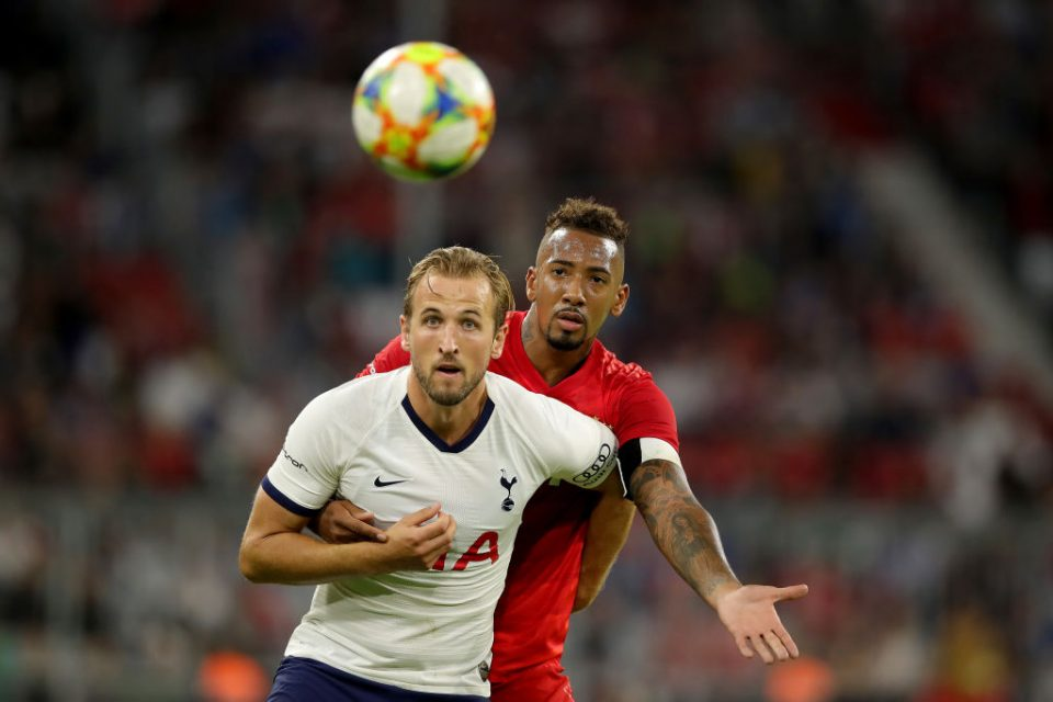 MUNICH, GERMANY - JULY 31: Jerome Boateng of Muenchen battles for the ball with Harry Kane of Tottenham during the Audi Cup 2019 final match between Tottenham Hotspur and Bayern Muenchen at Allianz Arena on July 31, 2019 in Munich, Germany. (Photo by Alexander Hassenstein/Getty Images for AUDI)