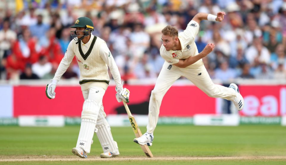 BIRMINGHAM, ENGLAND - AUGUST 03: Stuart Broad of England bowls during day three of the 1st Specsavers Ashes Test between England and Australia at Edgbaston on August 03, 2019 in Birmingham, England. (Photo by Gareth Copley/Getty Images)