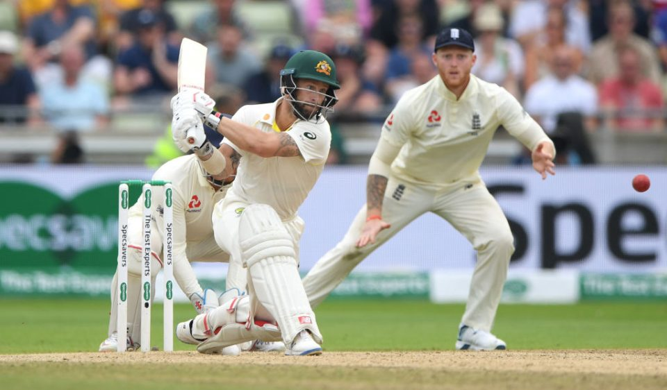 BIRMINGHAM, ENGLAND - AUGUST 04: Australia batsman Matthew Wade reverse sweeps watched by Jonny Bairstow during day four of the First Specsavers Test Match between England and Australia at Edgbaston on August 04, 2019 in Birmingham, England. (Photo by Stu Forster/Getty Images)