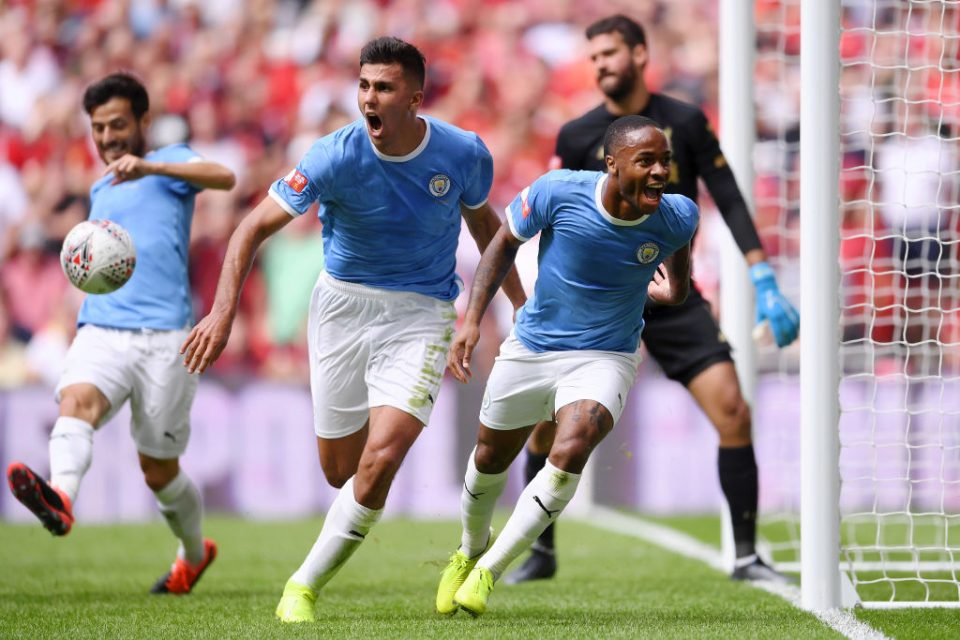 LONDON, ENGLAND - AUGUST 04: Raheem Sterling of Manchester City celebrates after scoring his team's first goal during the FA Community Shield match between Liverpool and Manchester City at Wembley Stadium on August 04, 2019 in London, England. (Photo by Laurence Griffiths/Getty Images)
