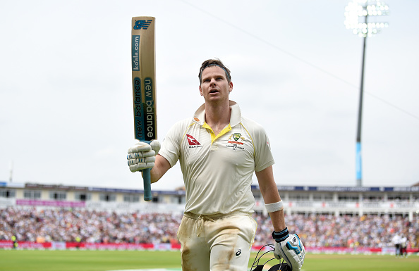 BIRMINGHAM, ENGLAND - AUGUST 04: Steven Smith of Australia salutes the crowd as he leaves the field after being dismissed by Chris Woakes of England during day four of the 1st Specsavers Ashes Test between England and Australia at Edgbaston on August 04, 2019 in Birmingham, England. (Photo by Gareth Copley/Getty Images)