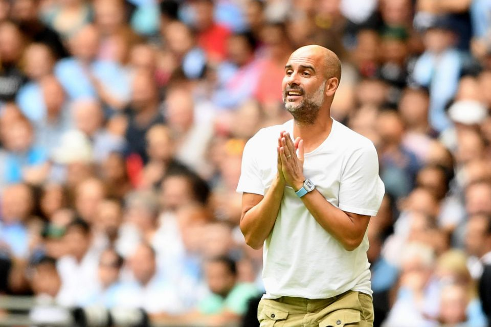 LONDON, ENGLAND - AUGUST 04: Pep Guardiola, Manager of Manchester City reacts during the FA Community Shield match between Liverpool and Manchester City at Wembley Stadium on August 04, 2019 in London, England. (Photo by Michael Regan/Getty Images)