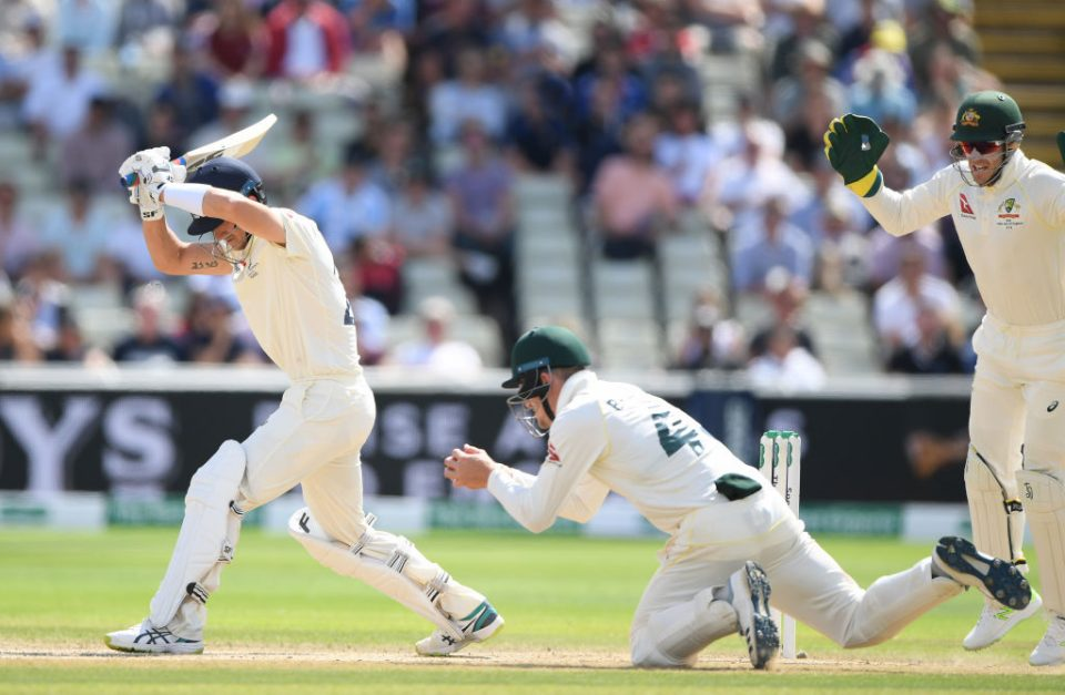 BIRMINGHAM, ENGLAND - AUGUST 05: England batsman Joe Denly is caught by fielder Cameron Bancroft off the bowling of Nathan Lyon during the fifth day of the 1st Test match between England and Australia at Edgbaston on August 05, 2019 in Birmingham, England. (Photo by Stu Forster/Getty Images)