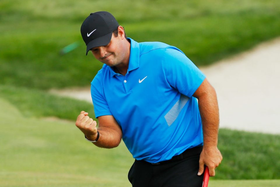 JERSEY CITY, NEW JERSEY - AUGUST 11: Patrick Reed of the United States celebrates on the 15th green during the final round of The Northern Trust at Liberty National Golf Club on August 11, 2019 in Jersey City, New Jersey. (Photo by Kevin C. Cox/Getty Images)