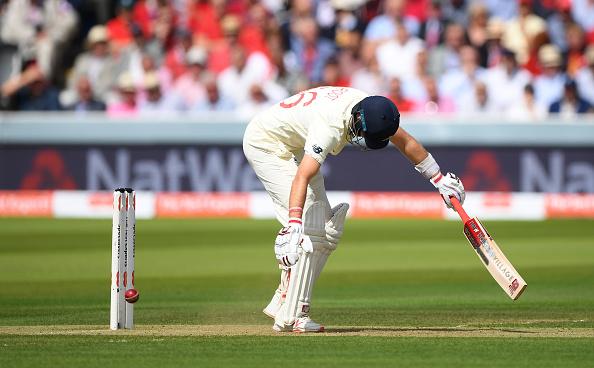 LONDON, ENGLAND - AUGUST 15: England batsman Joe Root is lbw to Josh Hazlewood during day two of the 2nd Test Match between England and Australia at Lord's Cricket Ground on August 15, 2019 in London, England. (Photo by Stu Forster/Getty Images)
