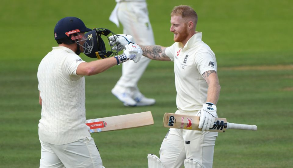 LONDON, ENGLAND - AUGUST 18: England batsman Ben Stokes celebrates with Jonny Bairstow after reaching his century during day five of the 2nd Ashes Test match between England and Australia at Lord's Cricket Ground on August 18, 2019 in London, England. (Photo by Stu Forster/Getty Images)