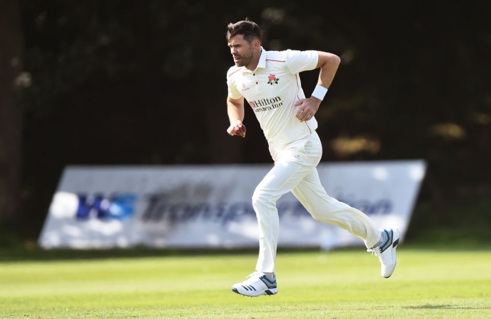 LIVERPOOL, ENGLAND - AUGUST 20: James Anderson of Lancashire Seconds XI runs into bowl during the match between Lancashire Seconds XI and Leicestershire Second XI at Northern Cricket Club on August 20, 2019 in Liverpool, England. (Photo by Nathan Stirk/Getty Images)