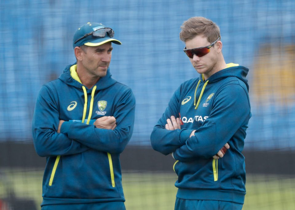 LEEDS, ENGLAND - AUGUST 21: Justin Langer, coach of Australia,  speaks with Steve Smith of Australia during the Australia Nets Session at Headingley on August 21, 2019 in Leeds, England. (Photo by Ryan Pierse/Getty Images)