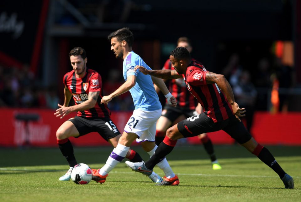 BOURNEMOUTH, ENGLAND - AUGUST 25: David Silva of Manchester City controls the ball during the Premier League match between AFC Bournemouth and Manchester City at Vitality Stadium on August 25, 2019 in Bournemouth, United Kingdom. (Photo by Mike Hewitt/Getty Images)