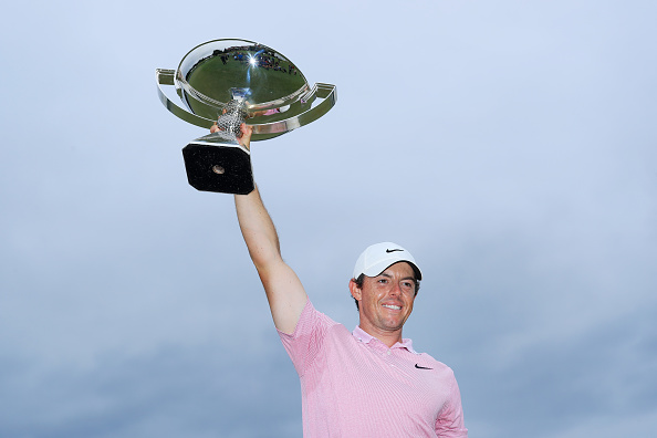 ATLANTA, GEORGIA - AUGUST 25: Rory McIlroy of Northern Ireland celebrates with the FedExCup trophy after winning during the final round of the TOUR Championship at East Lake Golf Club on August 25, 2019 in Atlanta, Georgia. (Photo by Sam Greenwood/Getty Images)