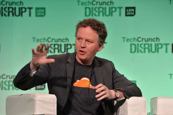 LONDON, ENGLAND - OCTOBER 21: Cloudflare Partner, Matthew Prince appears on stage at the 2014 TechCrunch Disrupt Europe/London, at The Old Billingsgate on October 21, 2014 in London, England. (Photo by Anthony Harvey/Getty Images for TechCrunch)