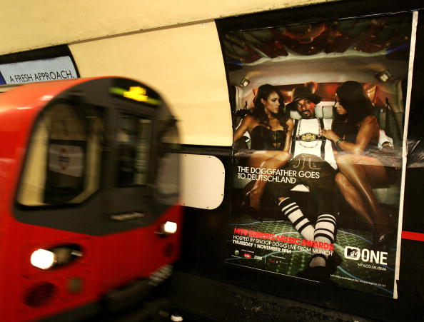 LONDON - NOVEMBER 01: A poster featuring Snoop Dogg advertising tonight's MTV Europe music awards in Munich is seen at Charing Cross Underground Station on November 1, 2007 in London, England. (Photo by Chris Jackson/Getty Images)