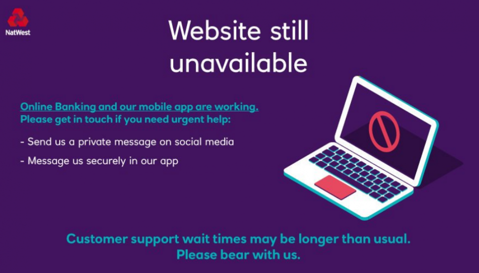 Natwest and RBS online banking outage