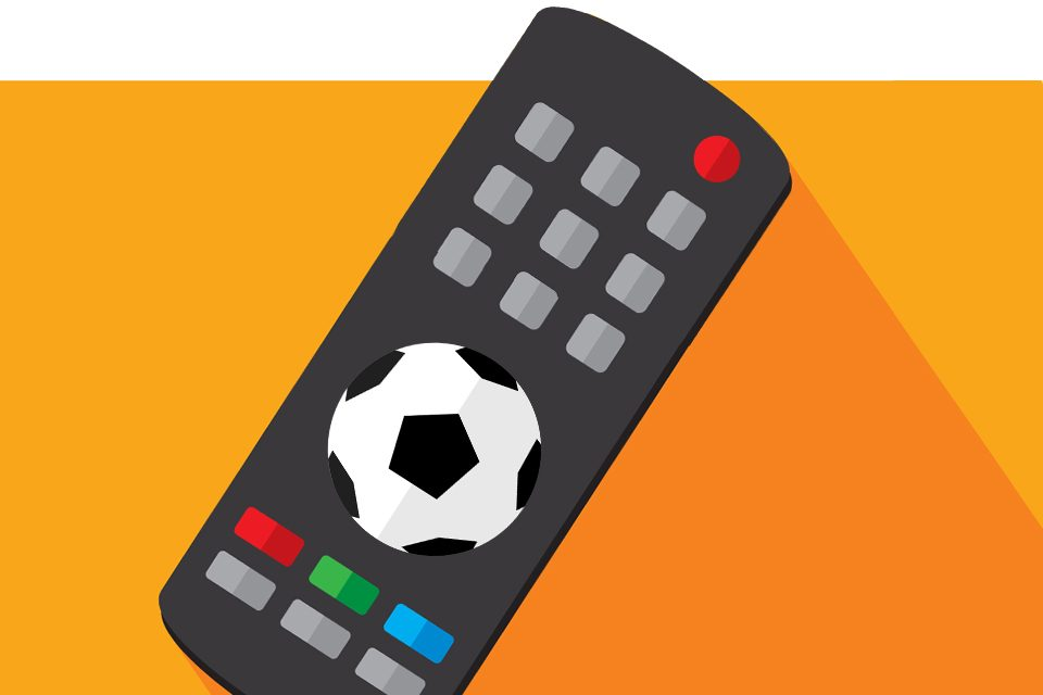 Vector illustration of a TV remote against an orange background in flat style.