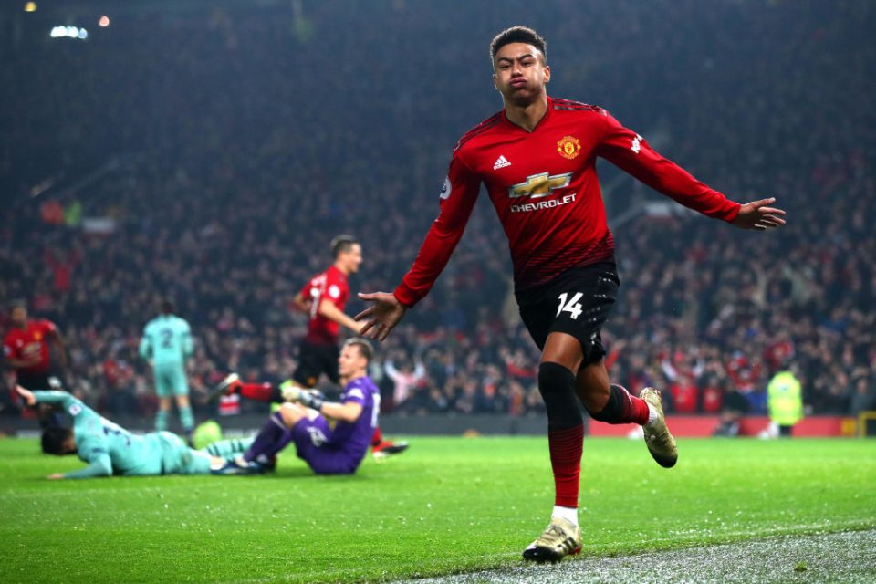 MANCHESTER, ENGLAND - DECEMBER 05:  Jesse Lingard of Manchester United celebrates after scoring his team's second goal during the Premier League match between Manchester United and Arsenal FC at Old Trafford on December 5, 2018 in Manchester, United Kingdom.  (Photo by Clive Brunskill/Getty Images)