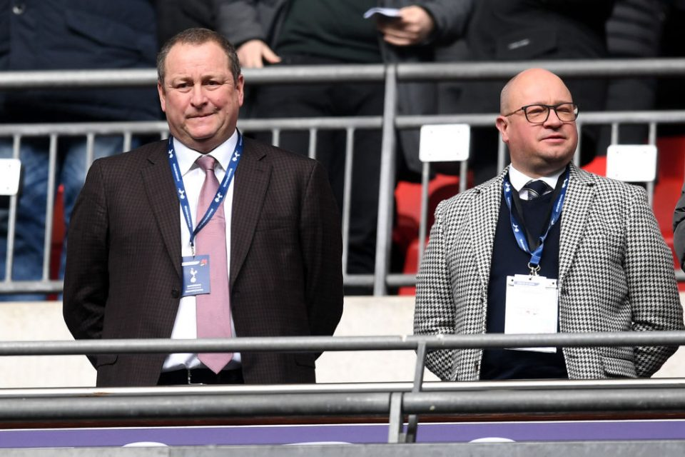 Mike Ashley in the stands of Newcastle football club's stadium