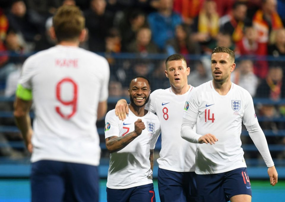 PODGORICA, MONTENEGRO - MARCH 25: Raheem Sterling, Ross Barkley and Jordan Henderson of England congratulate Harry Kane (9)
