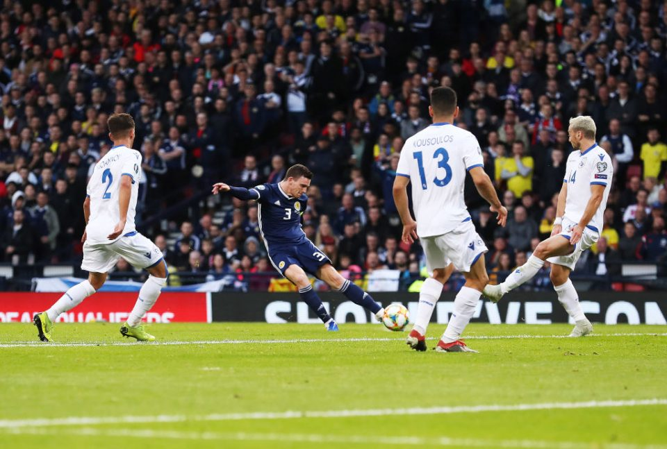 GLASGOW, SCOTLAND - JUNE 08: Andy Robertson of Scotland scores the opening goal during the European Qualifier for UEFA Euro 2020 at Hampden Park on June 08, 2019 in Glasgow, Scotland. (Photo by Ian MacNicol/Getty Images)