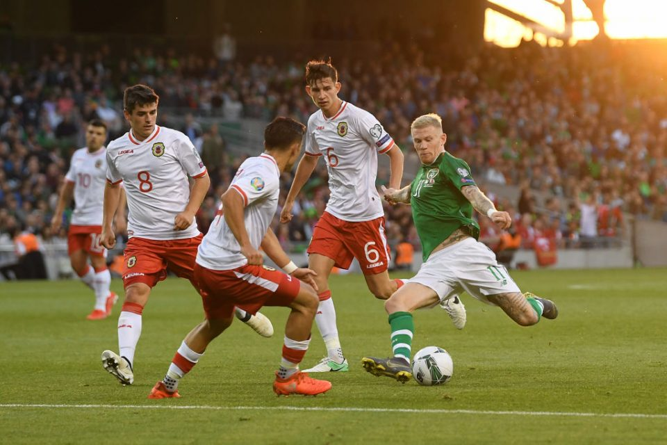 DUBLIN, IRELAND - JUNE 10: James McClean of Ireland shoots during the UEFA Euro 2020 Qualifying Group D match between Ireland and Gibraltar at Aviva Stadium on June 10, 2019 in Dublin, Ireland. (Photo by Mike Hewitt/Getty Images)