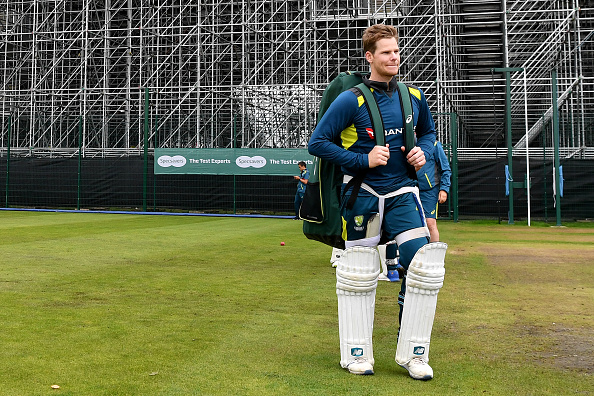 Australia's Steve Smith leaves a training session at Old Trafford in Manchester, north-west England on September 3, 2019 on the eve of the start of the fourth Ashes cricket Test match between England and Australia. (Photo by Paul ELLIS / AFP) / RESTRICTED TO EDITORIAL USE. NO ASSOCIATION WITH DIRECT COMPETITOR OF SPONSOR, PARTNER, OR SUPPLIER OF THE ECB        (Photo credit should read PAUL ELLIS/AFP/Getty Images)