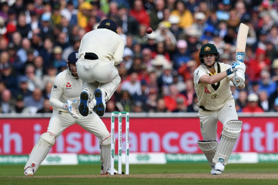 Australia's Steve Smith plays a shot on the first day of the fourth Ashes cricket Test match between England and Australia at Old Trafford in Manchester, north-west England on September 4, 2019. (Photo by Paul ELLIS / AFP) / RESTRICTED TO EDITORIAL USE. NO ASSOCIATION WITH DIRECT COMPETITOR OF SPONSOR, PARTNER, OR SUPPLIER OF THE ECB        (Photo credit should read PAUL ELLIS/AFP/Getty Images)