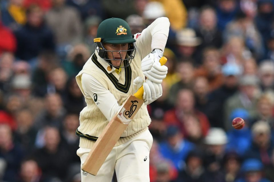Australia's Marnus Labuschagne plays a shot on the first day of the fourth Ashes cricket Test match between England and Australia at Old Trafford in Manchester, north-west England on September 4, 2019. (Photo by Paul ELLIS / AFP) / RESTRICTED TO EDITORIAL USE. NO ASSOCIATION WITH DIRECT COMPETITOR OF SPONSOR, PARTNER, OR SUPPLIER OF THE ECB        (Photo credit should read PAUL ELLIS/AFP/Getty Images)