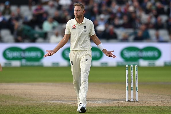 England's Stuart Broad reacts during the fourth day of the fourth Ashes cricket Test match between England and Australia at Old Trafford in Manchester, north-west England on September 7, 2019. (Photo by Oli SCARFF / AFP) / RESTRICTED TO EDITORIAL USE. NO ASSOCIATION WITH DIRECT COMPETITOR OF SPONSOR, PARTNER, OR SUPPLIER OF THE ECB        (Photo credit should read OLI SCARFF/AFP/Getty Images)
