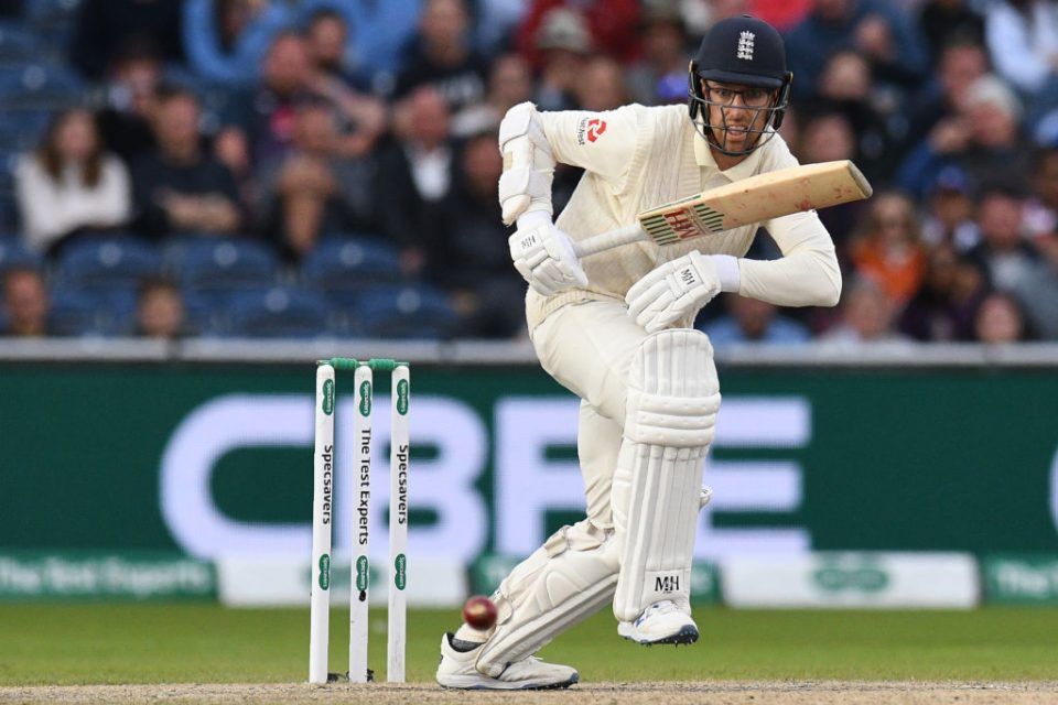 England's Jack Leach sets off for a run during play on the fifth day of the fourth Ashes cricket Test match between England and Australia at Old Trafford in Manchester, north-west England on September 8, 2019. (Photo by Oli SCARFF / AFP) / RESTRICTED TO EDITORIAL USE. NO ASSOCIATION WITH DIRECT COMPETITOR OF SPONSOR, PARTNER, OR SUPPLIER OF THE ECB        (Photo credit should read OLI SCARFF/AFP/Getty Images)