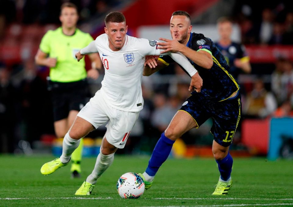 Kosovo's defender Amir Rrahmani (R) vies with England's midfielder Ross Barkley to before fouling him to concede a penalty during the UEFA Euro 2020 qualifying Group A football match between England and Kosovo at St Mary's stadium in Southampton, southern England on September 10, 2019. (Photo by Adrian DENNIS / AFP) / NOT FOR MARKETING OR ADVERTISING USE / RESTRICTED TO EDITORIAL USE (Photo credit should read ADRIAN DENNIS/AFP/Getty Images)