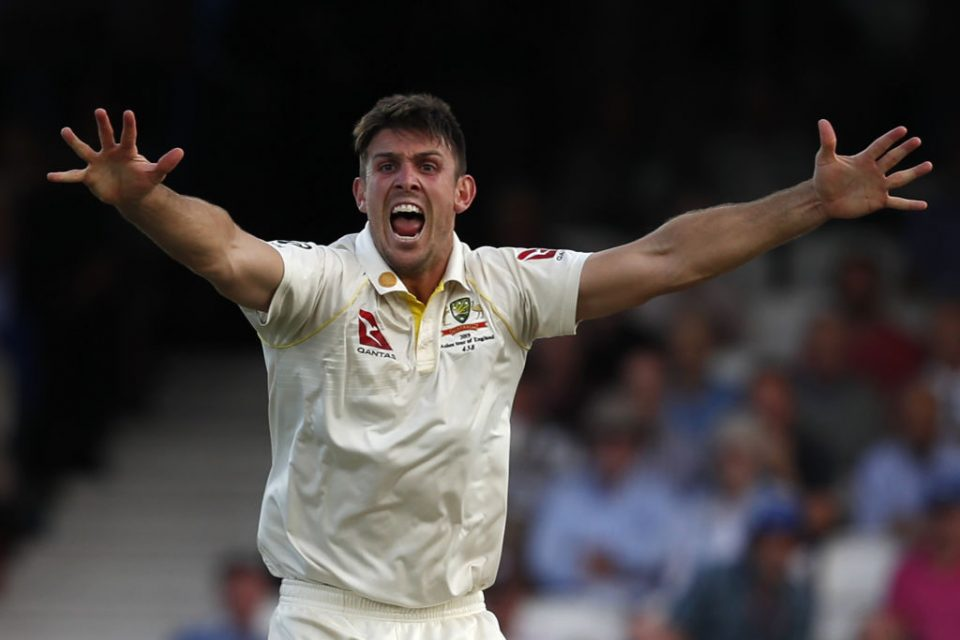 Australia's Mitchell Marsh celebrates taking the wicket of England's Chris Woakes for two during play on the first day of the fifth Ashes cricket Test match between England and Australia at The Oval in London on September 12, 2019. (Photo by Adrian DENNIS / AFP) / RESTRICTED TO EDITORIAL USE. NO ASSOCIATION WITH DIRECT COMPETITOR OF SPONSOR, PARTNER, OR SUPPLIER OF THE ECB        (Photo credit should read ADRIAN DENNIS/AFP/Getty Images)