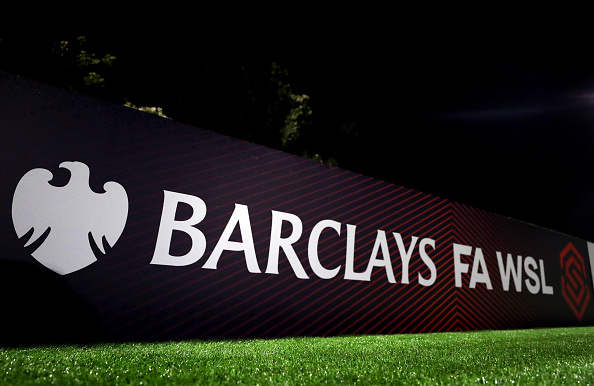 BOREHAMWOOD, ENGLAND - AUGUST 14: View the new sponsor branding for the Barclays FA WSL during the Pre Season friendly between Arsenal Women and Barcelona Femini at Meadow Park on August 14, 2019 in Borehamwood, England. (Photo by Catherine Ivill/Getty Images)