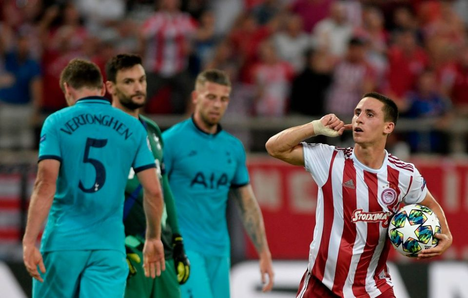 Olympiakos' Portuguese midfielder Daniel Podence celebrates after scoring a goal during the UEFA Champions League Group B football match Olympiakos vs Tottenham Hotspur on September 18, 2019 at the Georgios Karaiskakis Stadium in Athens. (Photo by LOUISA GOULIAMAKI / AFP)        (Photo credit should read LOUISA GOULIAMAKI/AFP/Getty Images)