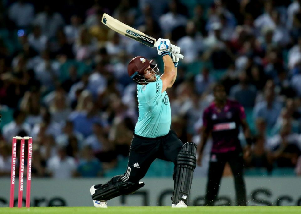 LONDON, ENGLAND - AUGUST 27: Aaron Finch of Surrey hits out during the Vitality T20 Blast match between Surrey and Somerset at The Kia Oval on August 27, 2019 in London, England. (Photo by Jordan Mansfield/Getty Images for Surrey CCC)