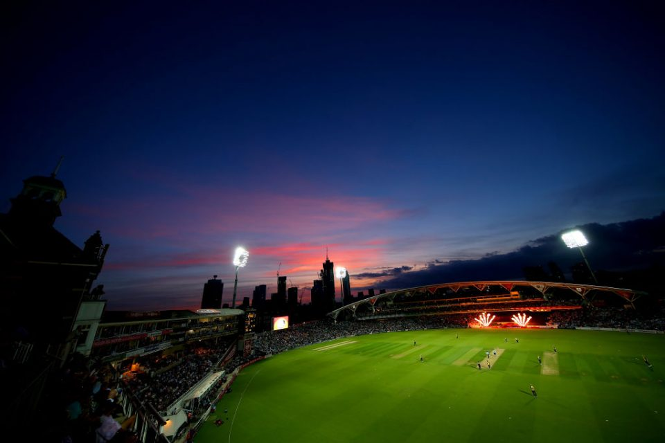 LONDON, ENGLAND - AUGUST 29: A general view of play during the Vitality T20 Blast match between Surrey and Essex Eagles at The Kia Oval on August 29, 2019 in London, England. (Photo by Jordan Mansfield/Getty Images for Surrey CCC)