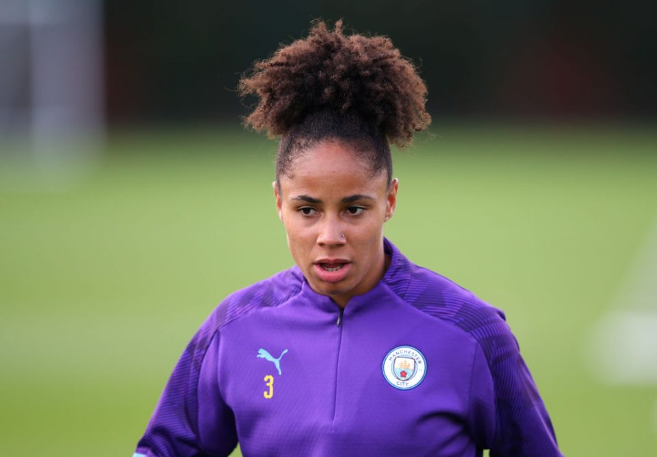 MANCHESTER, ENGLAND - SEPTEMBER 05: Demi Stokes of Manchester City Women looks on during a training session at Manchester City Football Academy on September 05, 2019 in Manchester, England. (Photo by Alex Livesey/Getty Images)