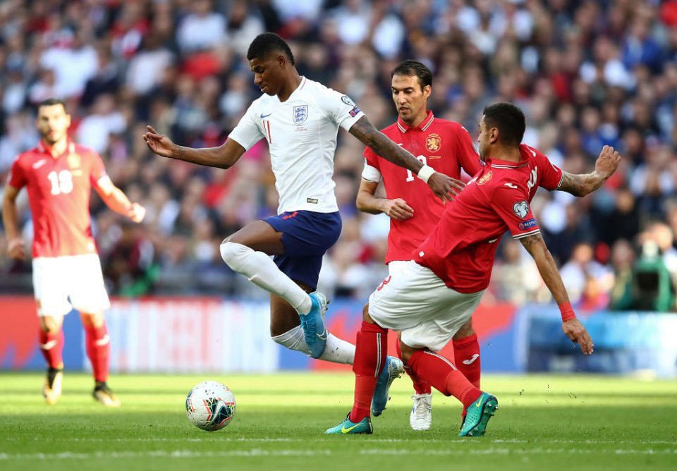 LONDON, ENGLAND - SEPTEMBER 07:   Marcus Rashford of England in action during the UEFA Euro 2020 qualifier match between England and Bulgaria at Wembley Stadium on September 07, 2019 in London, England. (Photo by Julian Finney/Getty Images)