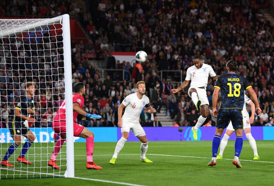 SOUTHAMPTON, ENGLAND - SEPTEMBER 10: Raheem Sterling of England scores his sides first goal during the UEFA Euro 2020 qualifier match between England and Kosovo at St. Mary's Stadium on September 10, 2019 in Southampton, England. (Photo by Clive Mason/Getty Images)