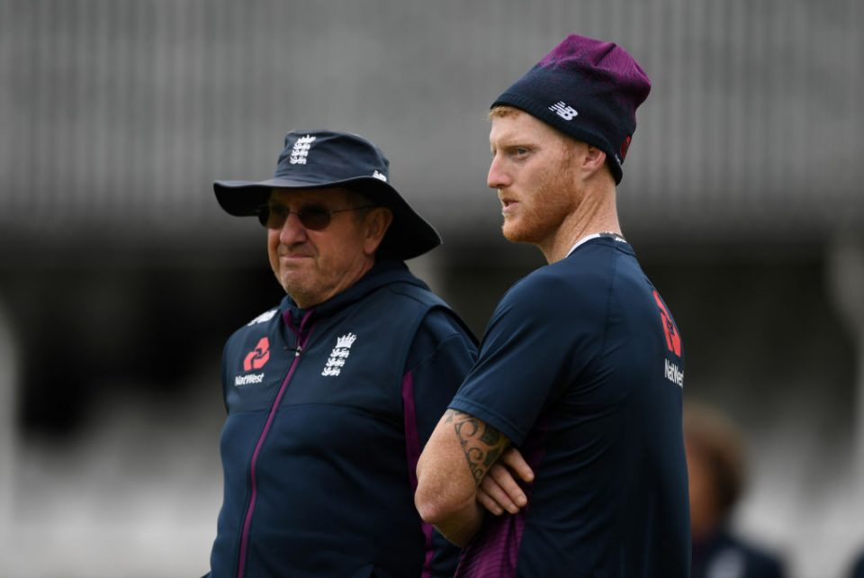 LONDON, ENGLAND - SEPTEMBER 11: Ben Stokes of England speaks with coach Trevor Bayliss during a nets session at The Kia Oval on September 11, 2019 in London, England. (Photo by Gareth Copley/Getty Images)