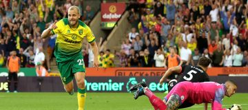 NORWICH, ENGLAND - SEPTEMBER 14: Teemu Pukki of Norwich City celebrates after scoring his team's third goal during the Premier League match between Norwich City and Manchester City at Carrow Road on September 14, 2019 in Norwich, United Kingdom. (Photo by Marc Atkins/Getty Images)