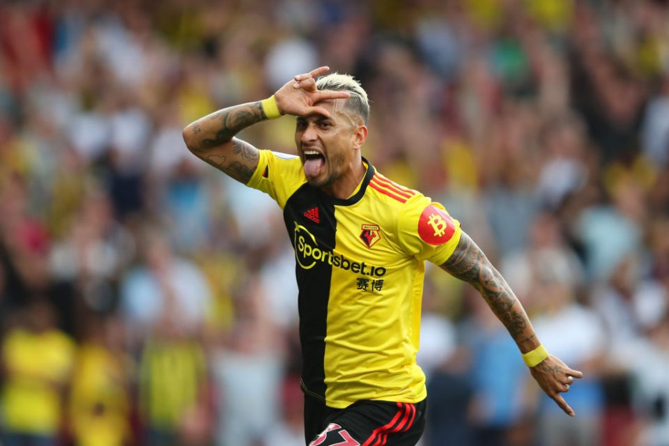 WATFORD, ENGLAND - SEPTEMBER 15: Roberto Pereyra of Watford celebrates as he scores his team's second goal from a penalty during the Premier League match between Watford FC and Arsenal FC at Vicarage Road on September 15, 2019 in Watford, United Kingdom. (Photo by Marc Atkins/Getty Images)