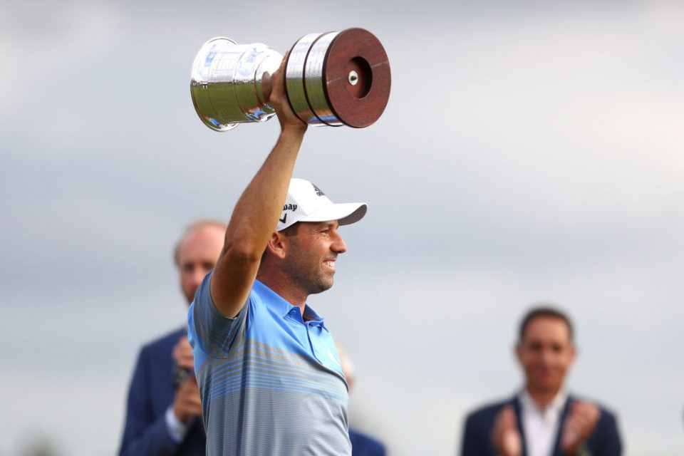 BADHOEVEDORP, NETHERLANDS - SEPTEMBER 15: Sergio Garcia of Spain lifts the trophy following his victory during Day Four of the KLM Open at The International Golf Course on September 15, 2019 in Badhoevedorp, Netherlands. (Photo by Dean Mouhtaropoulos/Getty Images)