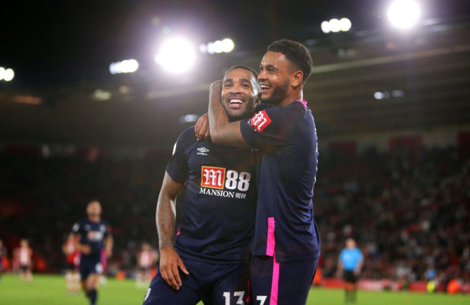 SOUTHAMPTON, ENGLAND - SEPTEMBER 20: Callum Wilson of AFC Bournemouth celebrates after scoring his team's third goal with Joshua King of AFC Bournemouth during the Premier League match between Southampton FC and AFC Bournemouth at St Mary's Stadium on September 20, 2019 in Southampton, United Kingdom. (Photo by Alex Pantling/Getty Images)