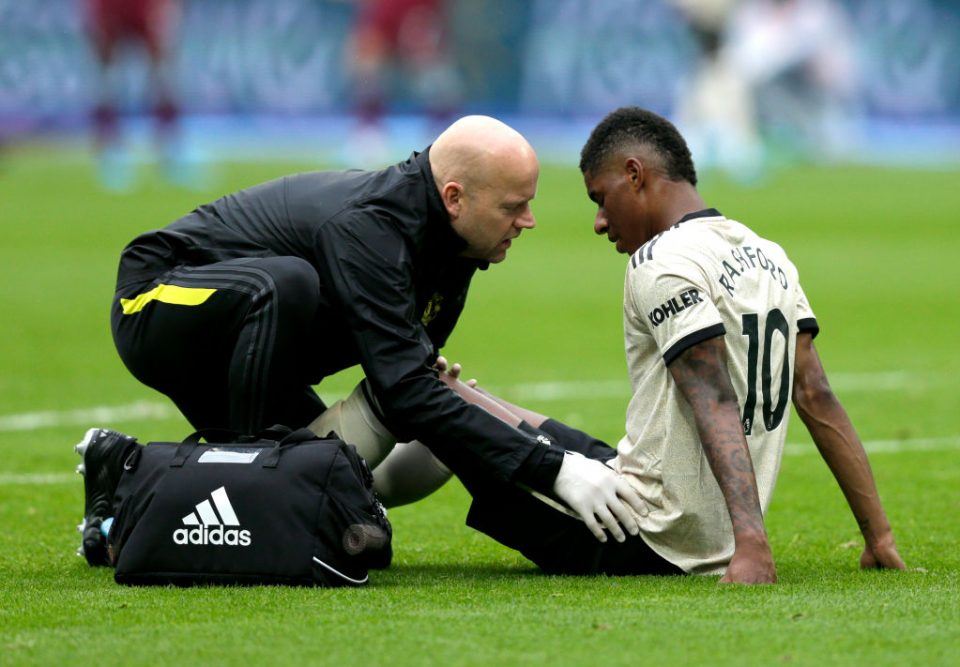 LONDON, ENGLAND - SEPTEMBER 22: An injured Marcus Rashford of Manchester United  during the Premier League match between West Ham United and Manchester United at London Stadium on September 22, 2019 in London, United Kingdom. (Photo by Henry Browne/Getty Images)