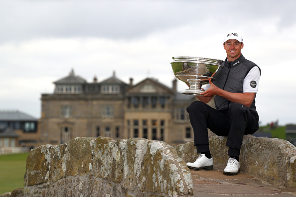ST ANDREWS, SCOTLAND - SEPTEMBER 29: Winner, Victor Perez of France poses with the trophy on the Swilken Bridge on the 18th hole during Day four of the Alfred Dunhill Links Championship at The Old Course on September 29, 2019 in St Andrews, United Kingdom. (Photo by Matthew Lewis/Getty Images)