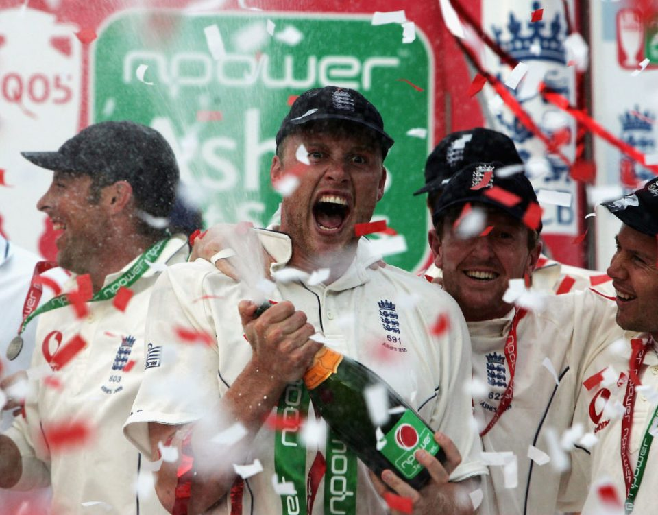 LONDON - SEPTEMBER 12: Andrew Flintoff of England celebrates after England regained the Ashes during day five of the Fifth npower Ashes Test match between England and Australia at the Brit Oval on September 12, 2005 in London, England.  (Photo by Tom Shaw/Getty Images)