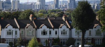 UK house prices: Mock Tudor homes border a park