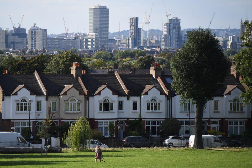 UK house prices: Mock Tudor homes border a park